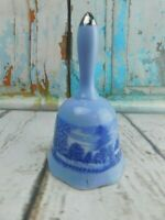 """Vintage Porcelain Blue Country Winter Home Scene Figurine Bell 5-1/4"""" Tall"""