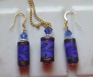 ROYAL BLUE LAMPWORK GLASS PENDANT AND EARRING SET