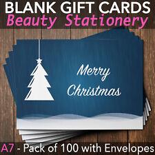 Christmas Gift Voucher Blank Beauty Salon Card Massage Nail x100 A7+Envelopes