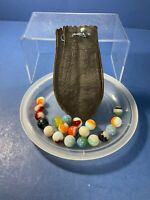 Vintage, 20 Mixed, Marbles, Loose In Old Marble Bag