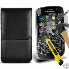 PU Leather Pouch Belt Holster Case & Tempered Glass For Blackbery Q20 Classic