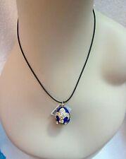 NWT Russian Faberge Blue Enamel Egg Pendant Necklace Fleur de Lis Crystals Gold