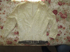 fancy top costume sequined womans dress top w silver beaded fringes small