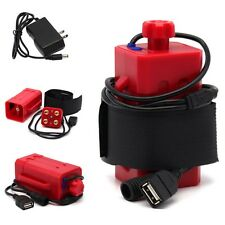 Red DC&USB Plug 18650 Battery Pack Box for Bicycle Light Headlight Cellphone