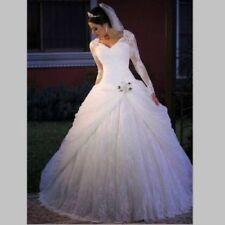 Long Sleeve Lace white/ivory Bride Wedding Dresses Bridal Ball Gowns Custom size