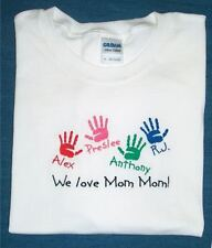 Personalized MOTHER MOMMY MOM GRANDMA NANA GRAMMY Kids Names & Hands T Shirt