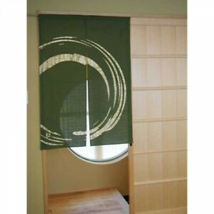 Japanese Noren Curtain Kyoto Enso Circle Matcha Green 85x120cm Fast Ship Japan