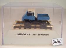 Brekina 1/87 39077 Mercedes Benz Unimog 421 su rotaie OVP SENZA ASTUCCIO #2040
