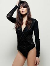 FREE PEOPLE SNEAKY SURPLICE BODYSUIT XS Black LUST FOR LACE Plunge Blouse Top