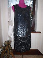 Stunning  All Saints Dominika Sequin Dress Black Size 12 Excellent Condition