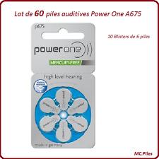 Lot de 60 piles boutons auditives A675 Power One, livraison rapide et gratuite