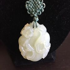 Fine Old Vintage Antique Chinese Light Green Jade Necklace Pendant Birds Art NR
