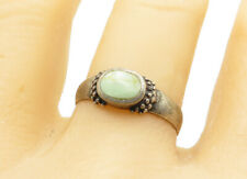 925 Sterling Silver - Turquoise Inlay Ball Bead Detail Band Ring Sz 9 - R11847