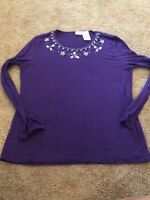 White Stag Stretch Women's Purple Beaded Long Sleeve Top Size Large 12–14