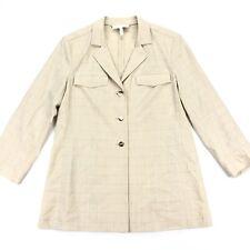 Escada Women's Tan Plaid Blazer Jacket New Wool Gold Buttons • Size 38