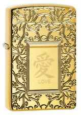 ZIPPO Chinese Love High Polish Armor Outdoors Windproof Lighter new in Box 49022