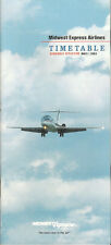 Midwest Express Airlines system timetable 5/1/93 [5112] (buy 4+ save 50%)