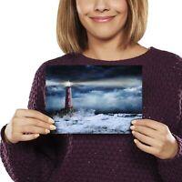 A5 - Stormy Seas Lighthouse Sea Wave Print 21x14.8cm 280gsm #12312