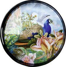 "Tablett ""Paradise Peacock"" Ø 35,5cm*Pfau*Blumen*Vintage Dekotablett Deko Melamin"
