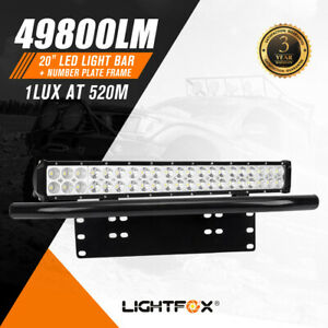 20Inch Cree Led Light Bar Flood Spot Combo  + Number Plate Frame 4WD Off Road