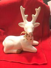 "8"" Holiday White/gold Sitting Reindeer Figurine Christmas Decor Decoration"