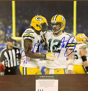 Aaron Rodgers DaVante Adams Green Bay Packers Signed 8x10 Photo COA