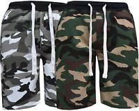 Mens Summer Sports Running GYM Training Elastic Jogging Fleece Camouflage Shorts