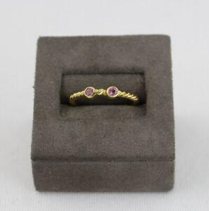 David Yurman 18k Yellow Gold Pink Tourmaline Cable Classics Ring Size 6.5