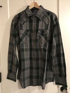 Pendleton Men's Green Plaid Long Sleeve Pearl Snap Frontier Shirt L