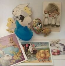Vntg Antique Asst Easter Lot, Hen On Nest, Postcards German Paper Mache Tin Toy