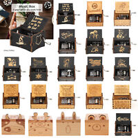 Wooden Music Box Harry Potter Game of Thrones Star Wars Engraved Xmas Toys Gift