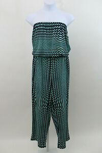 NEW Mlle Gabrielle Green Sleeveless Jumpsuit 3X