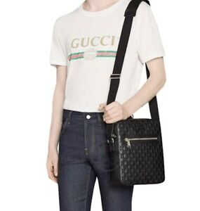 Gucci NEW Black Leather Messenger Cross Body Signature Bag Large