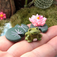 3 pcs Magic Fairy Garden Miniatures Set Cartoon Anime Grenouille & Lotus Feuille & Fleur