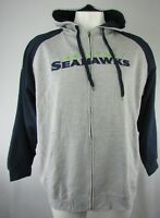 Seattle Seahawks NFL Men's Gray Full Zip Stitched Hoodie