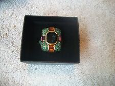 HEIDI DAUS Ring Sz 11.5 BIG BOLD BEAUTIFUL Multi SWAROVSKI Crystals Bronzetone