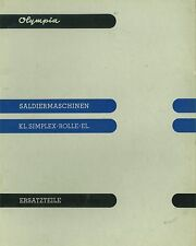Ersatzteilkatalog Olympia kl. Simplex / Rolle / El. Rechenmaschine *297