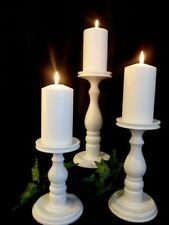 White Satin Lathe-turned Wooden Pillar Candle Holders - MADE in USA