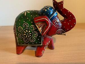 Wooden Bohemian Elephant Figure Ornament Hand Carved Mango Wood