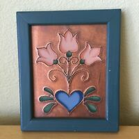 Tin Punch Tulip Painted Framed Picture Folk Art Tole Signed Country 11x9 Metal