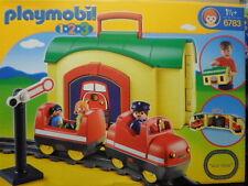 PLAYMOBIL 123- N° 6783- LA GARE TRANSPORTABLE AVEC SON TRAIN-TOP-SUPERBE-NEUF