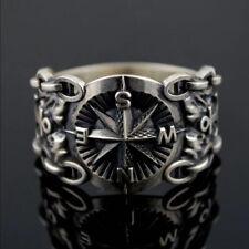 Men's Norse Mythology Viking Celtic Compass Retro Anchor Mystery Ring Size 6-13