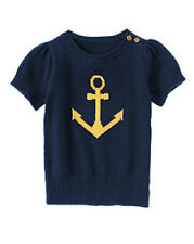 Gymboree Cape Cod Cutie Nautical Navy Gold Anchor Sweater Girls L 10-12 NEW NWT