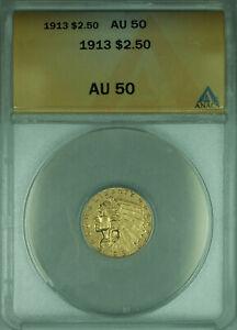 1913 Indian Quarter Eagle $2.50 Gold Coin ANACS AU-50