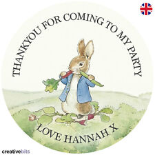 24 Personalised Peter Rabbit Birthday Party Stickers Thankyou Sweet Cones Bags