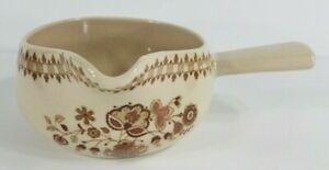 Vintage Staffordshire Old Granite beige tan brown gravy boat with handle England