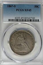 1867 S 50C PCGS  XF 45    Seated Liberty Half Dollar