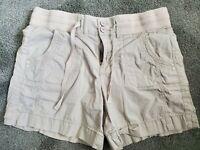 Khaki & Company Chino Beige Comfort Waist Tie Shorts Size 10 Women's