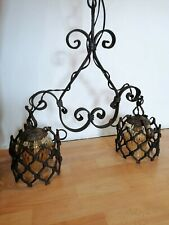 Antique Wrought Iron Handmade Chandelier, Wrought Iron Hanging Lamp