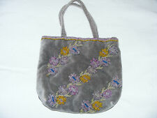 "Beaded     Ladies    Handbag    Grey  Velvet   Background     9""  By  8""  Inches"